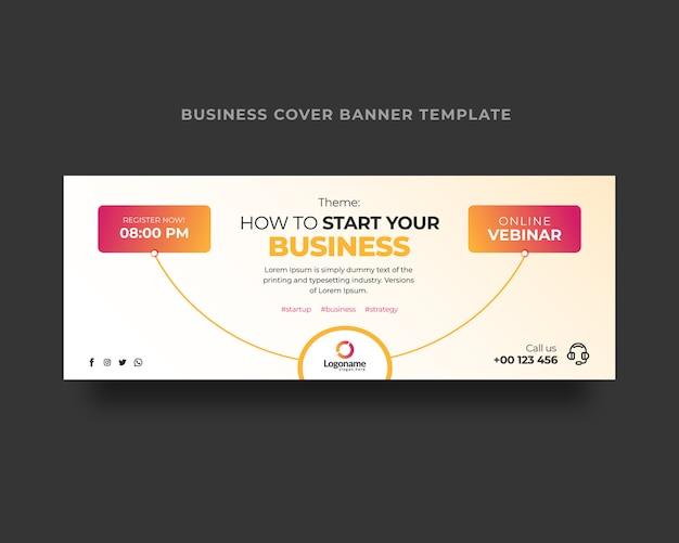 Plantilla de portada de facebook para webinar de negocios en línea
