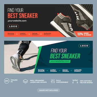 Plantilla de portada de facebook de zapatillas