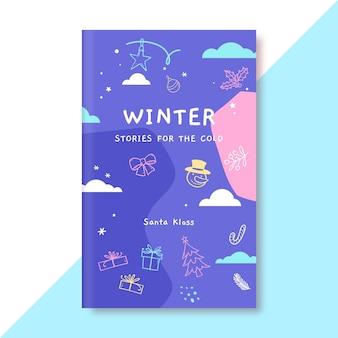 Plantilla de portada de libro de dibujo de invierno colorido doodle