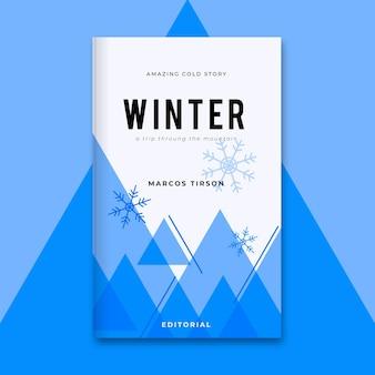 Plantilla de portada de libro de invierno geométrica de un solo color