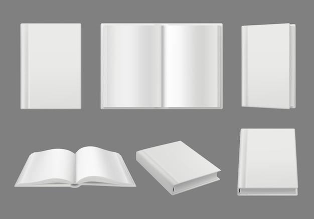 Plantilla de portada de libros. limpie las páginas en blanco 3d maqueta realista de la revista de folleto aislado