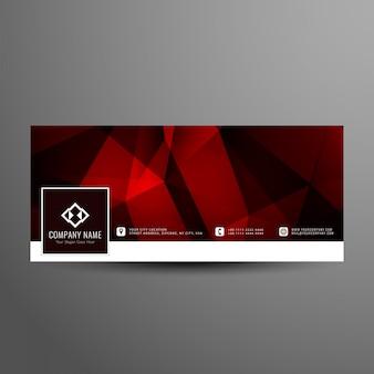 Plantilla de portada de línea de tiempo de color rojo moderno abstracto facebook