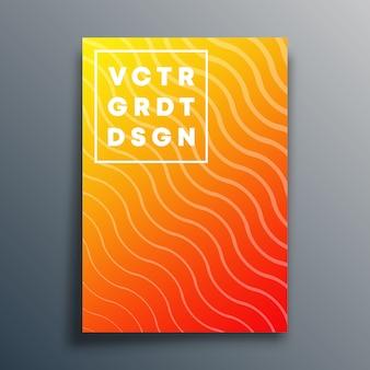 Plantilla de portada con líneas onduladas para flyer, póster, folleto, tipografía u otros productos de impresión. ilustración