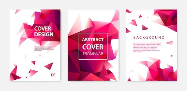 Plantilla de portada de negocio abstracto, fondo geométrico moderno faceta con triángulos rojos.