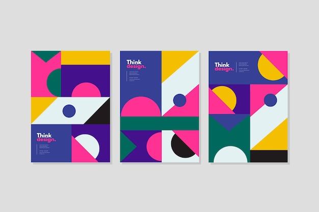 Plantilla de portada de patrones geométricos abstractos