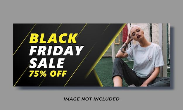 Plantilla de portada de redes sociales y banner web de venta de viernes negro