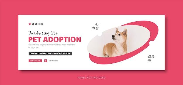 Plantilla de portada de redes sociales de cuidado de mascotas o diseño de banner de facebook de adopción de mascotas.