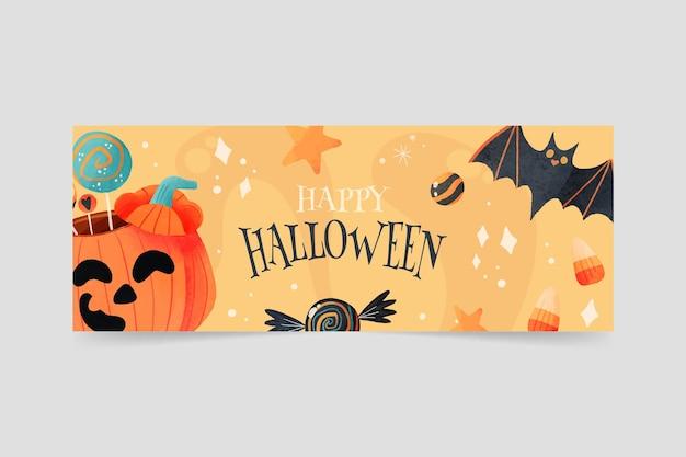 Plantilla de portada de redes sociales de halloween en acuarela