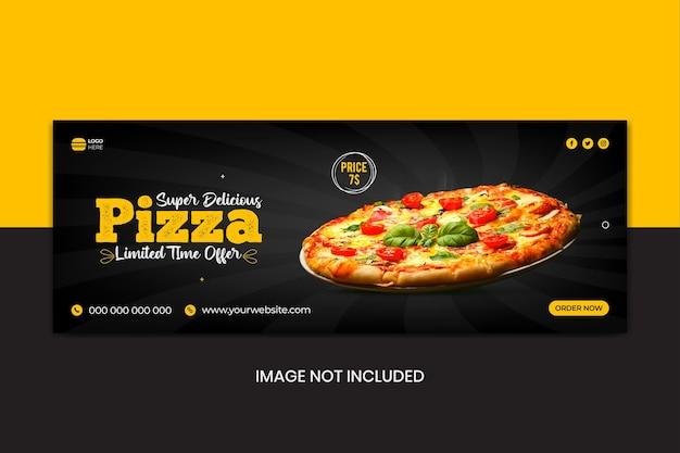 Plantilla de portada de redes sociales para menú de comida de restaurante de pizza