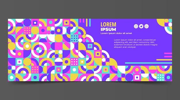 Plantilla de portada de redes sociales de mosaico plano