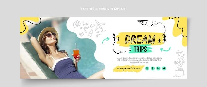Plantilla de portada de redes sociales de viajes planos