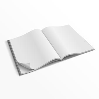 Plantilla de portada de revista abierta en blanco
