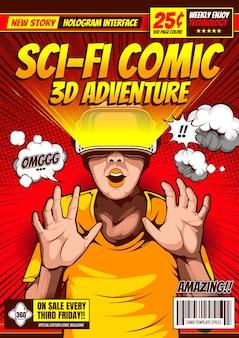 Plantilla de portada de revista de cómic de ciencia ficción.