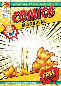 Plantilla de portada de revista cómica colorida