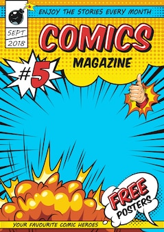 Plantilla de portada de revista cómica
