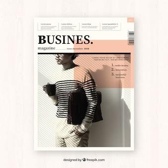 Plantilla de portada para revista moderna de negocios con foto