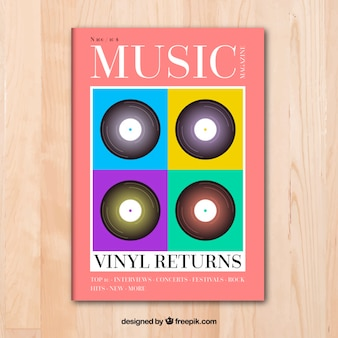 Plantilla de portada de revista de música