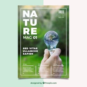 Plantilla para portada de revista de naturaleza con foto