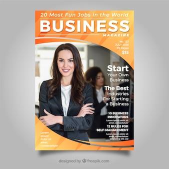 Plantilla de portada de revista de negocios con foto