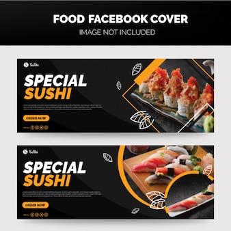 Plantilla de portada de sushi facbook