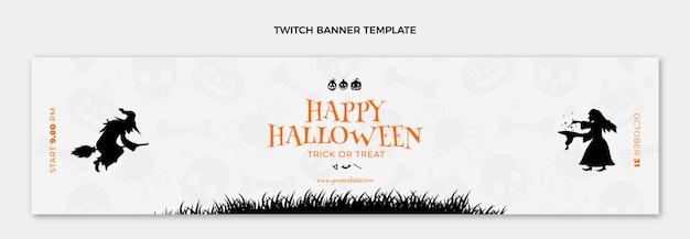 Plantilla de portada de twitch plana feliz halloween