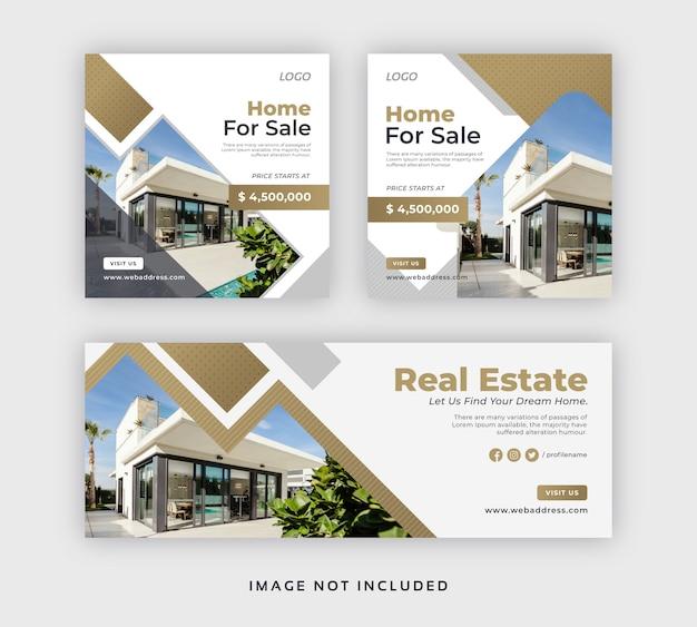 Plantilla de portada web y banner de publicación de redes sociales inmobiliarias