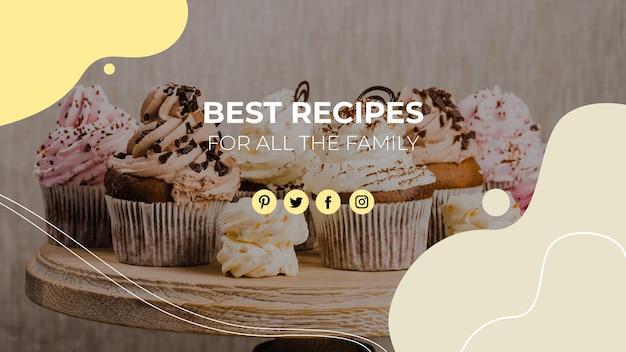 Plantilla de portada de youtube de alimentos