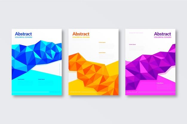 Plantilla de portadas de líneas de formas geométricas