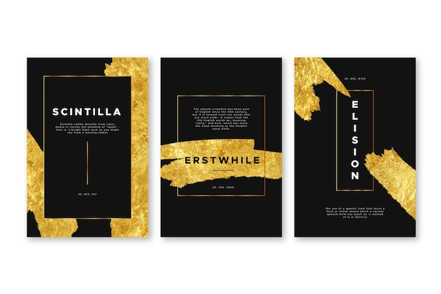 Plantilla de portadas de papel dorado