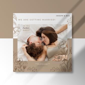 Plantilla de post de boda de instagram