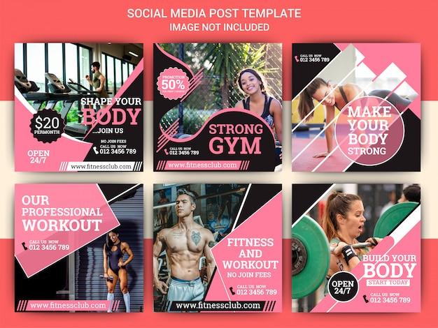 Plantilla de post de instagram de gimnasio y deportes