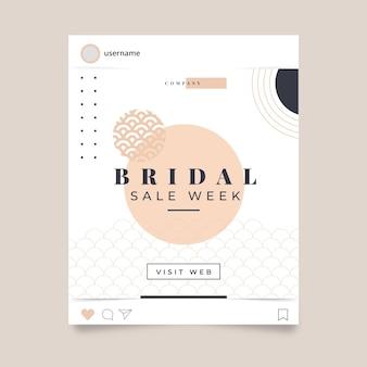 Plantilla de post de instagram de rebajas de novia