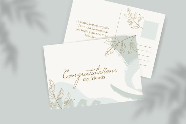 Plantilla de postal de boda monocolor pintado abstracto