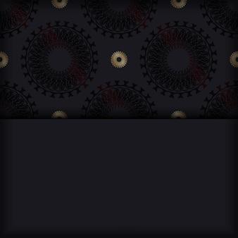 Plantilla de postal en color negro con adorno de mandala