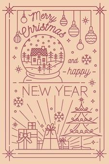 Plantilla de postal de feliz navidad y próspero año nuevo con decoraciones navideñas de invierno dibujadas en estilo de arte lineal: copos de nieve, abeto, regalos, adornos, globo de nieve. ilustración de vector monocromo.