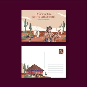 Plantilla de postal con nativos americanos en estilo acuarela
