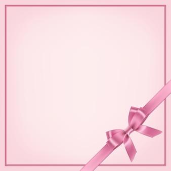 Plantilla de postal rosa con cinta y lazo
