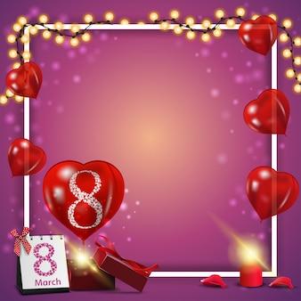 Plantilla de postal rosa para el día de la mujer.