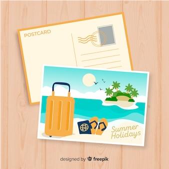 Plantilla de postal de vacaciones de verano