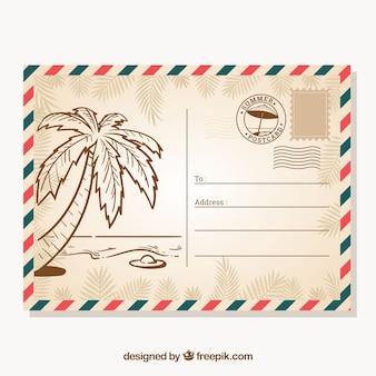 Plantilla de postal de verano dibujada a mano en estilo vintage