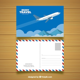 Plantilla de postal de viaje en estilo plano