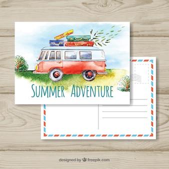 Plantilla de postal de viaje con furgoneta en acuarela