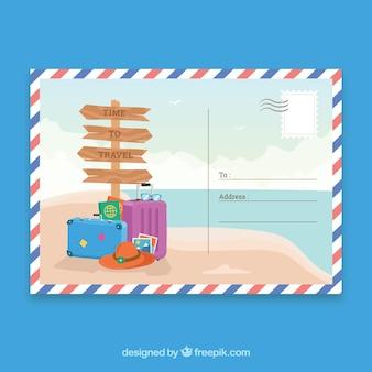 Plantilla de postal de viaje veraniego dibujada a mano