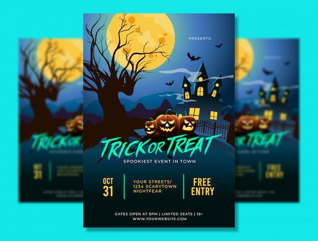 Plantilla de póster a4 de fiesta de halloween con lugar aterrador y calabazas