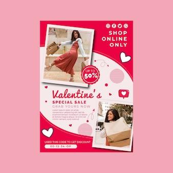 Plantilla de póster a4 de rebajas de san valentín