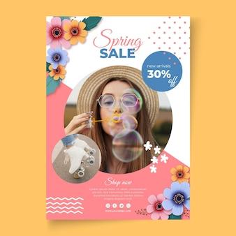 Plantilla de póster a4 de venta de primavera realista