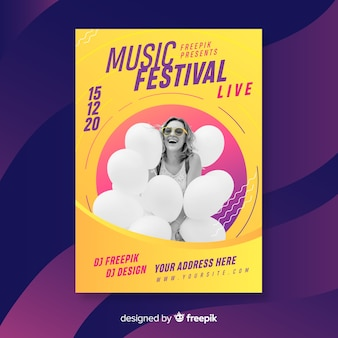 Plantilla de poster abstracto colorido de festival de música