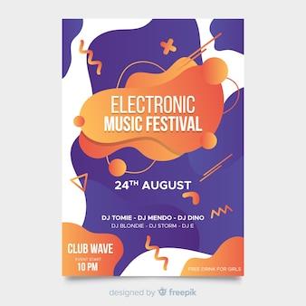 Plantilla de poster abstracto de festival de música con efecto líquido