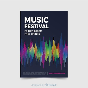 Plantilla de poster abstracto de festival de música