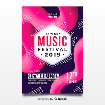 Plantilla de póster abstracto de festival de música